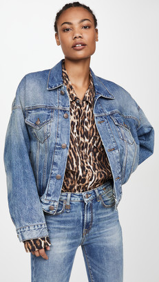 R 13 Oversized Cinched Waist Trucker Jacket