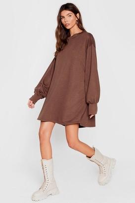 Nasty Gal Womens Move Oversized Sweatshirt Dress - Chocolate