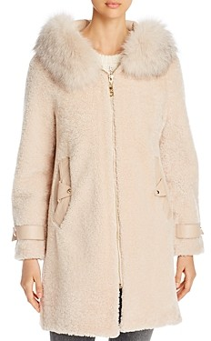 Maximilian Furs Shearling & Fox Fur Trim Hooded Jacket - 100% Exclusive