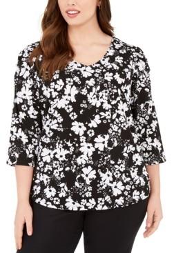 Adrienne Vittadini Plus Size 3/4-Sleeve Top