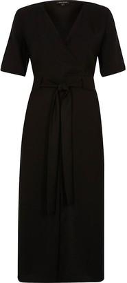River Island Black wrap short sleeve midi dress