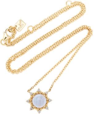 Kathryn Elyse Sunburst 14K Yellow Gold Agate and Diamond Necklace