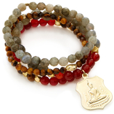Good Charma Buddha Medallion & Carnelian Bangle Bracelets (Set of 4)