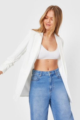 Nasty Gal Womens Ruche Hour Relaxed Blazer - White