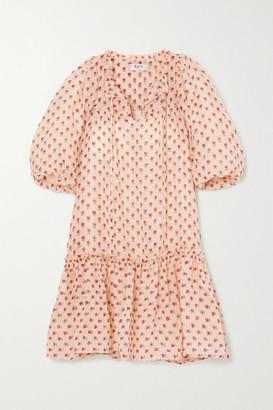 Sea Alexis Ruffled Floral-print Wool-blend Gauze Dress - Cream