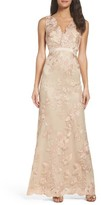 Adrianna Papell Women's Embroidered Tulle Gown
