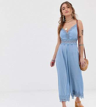Sisters Of The Tribe Petite cami jumpsuit with lace insert-Blue
