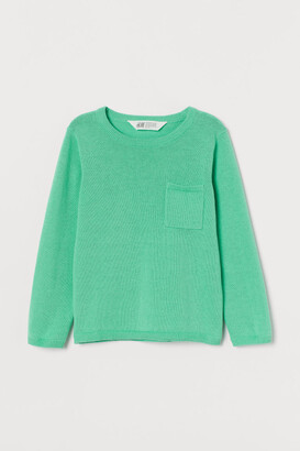 H&M Fine-knit Sweater with Pocket - Green