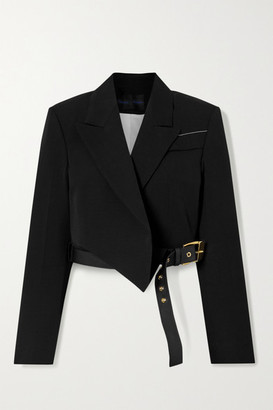 Proenza Schouler Cropped Leather-trimmed Woven Blazer - Black