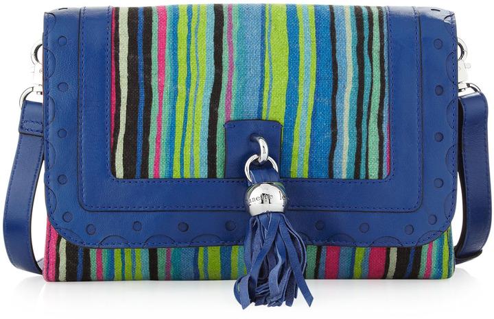 Nanette Lepore Tassel Striped Canvas Clutch Bag