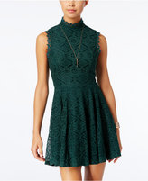 City Studios Juniors' Lace Mock-Neck Fit & Flare Dress