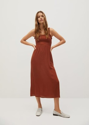 MANGO Elastic panel dress burnt orange - 2 - Women