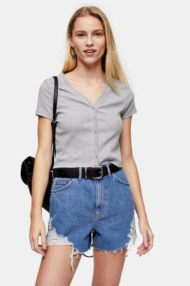 Topshop Womens Grey Short Sleeve Button Cardigan - Grey Marl