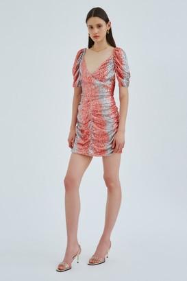 C/Meo AFFAIR SHORT SLEEVE DRESS Rosewood W Silver