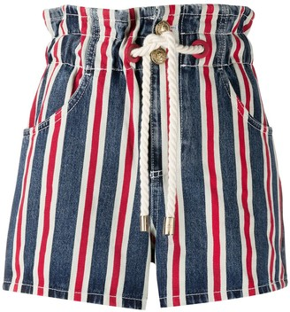Elisabetta Franchi Striped Drawcord Denim Shorts