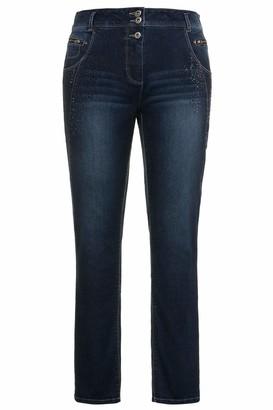 Ulla Popken Women's Jeans mit Ziernahten und Glitzerelementen Skinny