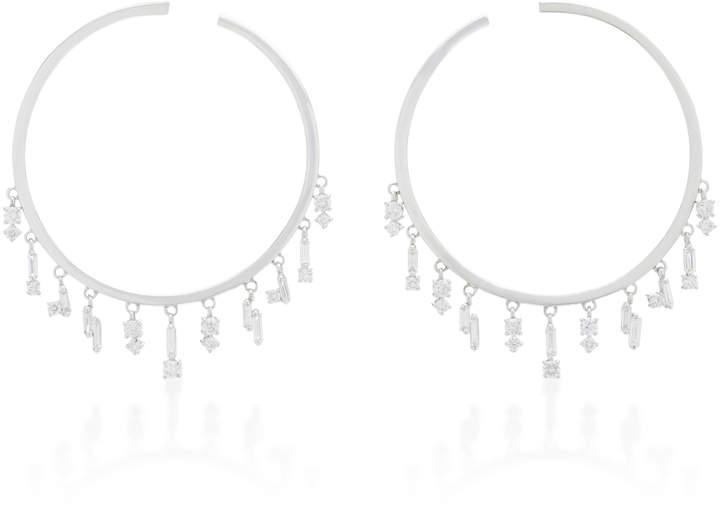 Suzanne Kalan 18K White Gold and Diamond Hoop Earrings