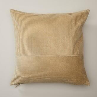 "Oui Pieced Corduroy Gold Ochre Pillow Cover 20"" X 20"""