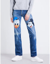 Fiorucci Donald Duck and Mickey Mouse straight high-rise jeans