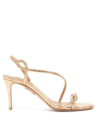 Aquazzura Serpentine 75 Python-effect Leather Sandals - Womens - Gold