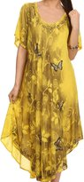 Sakkas S141304 - Jana Butterfly Sequin Emroidered Cap Sleeves Caftan Dress / Cover Up - OS