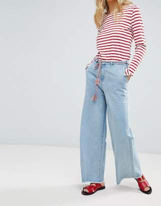Maison Scotch Raw Hem Wide Leg Jeans with Rope Belt-Blue