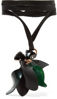 Marni Gold And Silver-tone, Horn, Leather And Crystal Necklace - Black