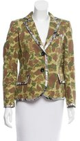 Chris Benz Silk-Trimmed Camouflage Blazer w/ Tags