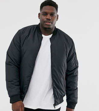Brave Soul MA1 padded bomber jacket in black