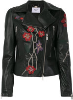 Blugirl embroidered biker jacket - women - Leather/Polyester/Acetate - 42