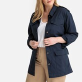 Castaluna Plus Size Cotton Belted Utility Jacket with Pockets and Tie-Waist