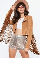 Missguided Brown Faux Suede Fringe Jacket