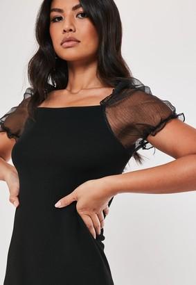Missguided Black Knitted Organza Puff Sleeve Mini Dress