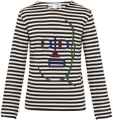 Comme des Garcons Striped long-sleeved wool-blend top