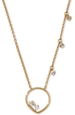 "AVA NADRI Gold-Tone Floating Crystal Open Pendant Necklace, 16"" + 1"" extender"