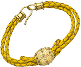 Jacqueline Pinto Yellow Braided Leather Bracelet with Crystal Studded Barrel Bead