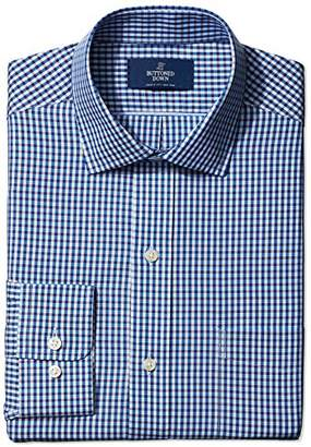Buttoned Down Classic Fit Pattern Dress Shirt, (Blue/Brown)