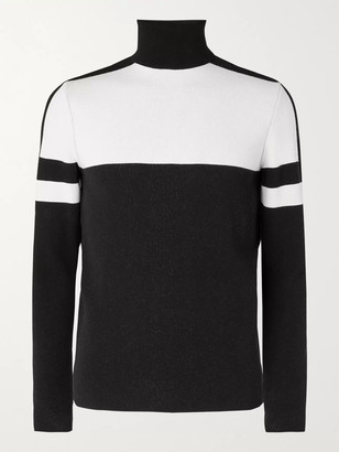 Fusalp Juan Logo-Appliqued Two-Tone Knitted Ecovero Roll-Neck Ski Sweater
