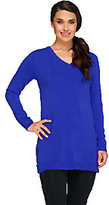 As Is Susan Graver Plush Knit V-Neck Long Sleeve Sweater