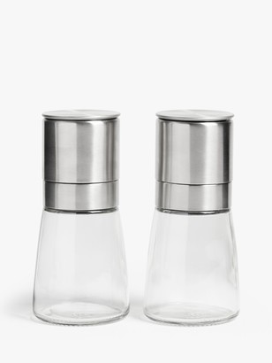 John Lewis & Partners Tip Top Stainless Steel Salt & Pepper Mills, Set of 2, Silver/Clear