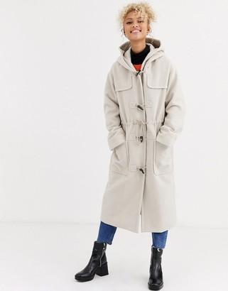 Asos Design DESIGN longline duffle coat in cream-Beige