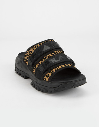 Fila Outdoor Animal Print Womens Black Slide Sandals