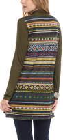 Celeste Olive Geometric Contrast-Back Open Cardigan