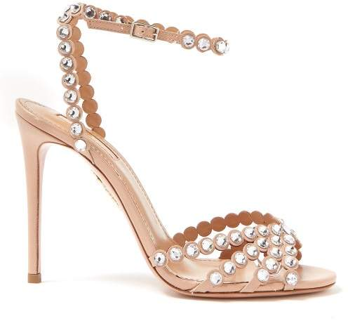 Aquazzura Tequila 105 Crystal Embellished Leather Sandals - Womens - Nude