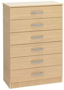 Ideal Furniture BUDG0007-WAL 6 Drawer Chest, Wood, Walnut