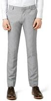 Topman Men's Skinny Fit Textured Grey Suit Trousers