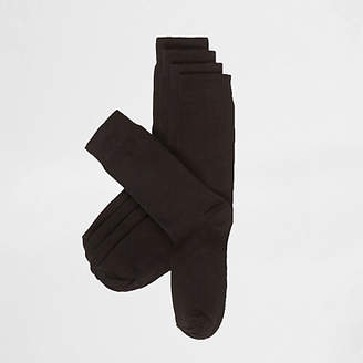 River Island Plain black socks 5 pack