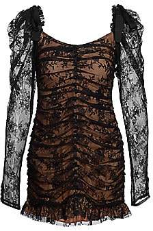For Love & Lemons Women's Beverly Sheer-Sleeve Lace Mini Dress