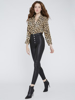 Alice + Olivia Eloise Button Down Leopard Blouse