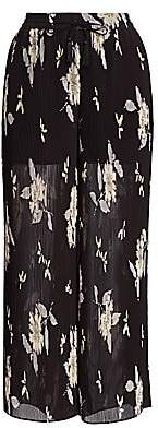 Etro Women's Plumeria Plisse Cropped Wide-Leg Pants